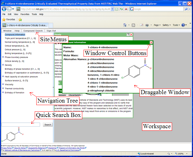 Screenshot of application interface